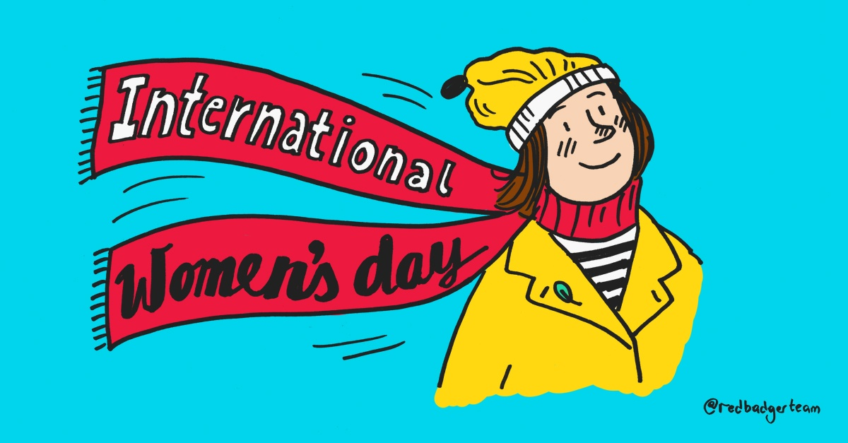 Colourful illustration of a smiling woman in a yellow coat and hat with a bright red scarf which has written 'International Women's day'
