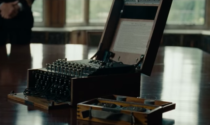 Shot of the Enigma machine in The Imitation Game 2014