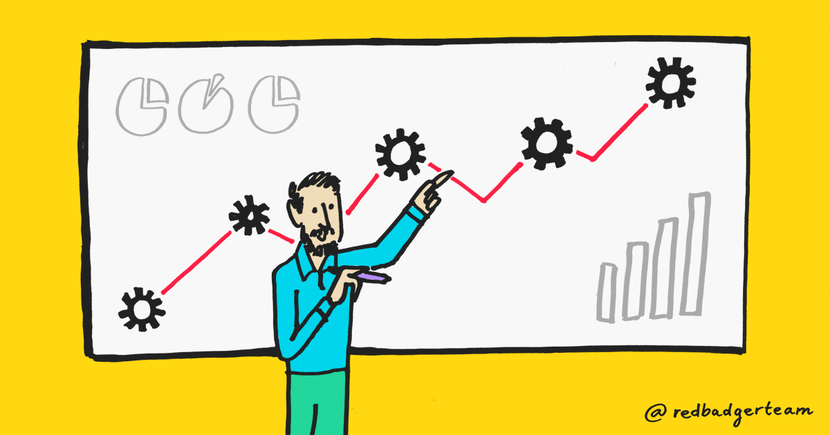 Man pointing at a chart with cogs, bar charts and pie charts