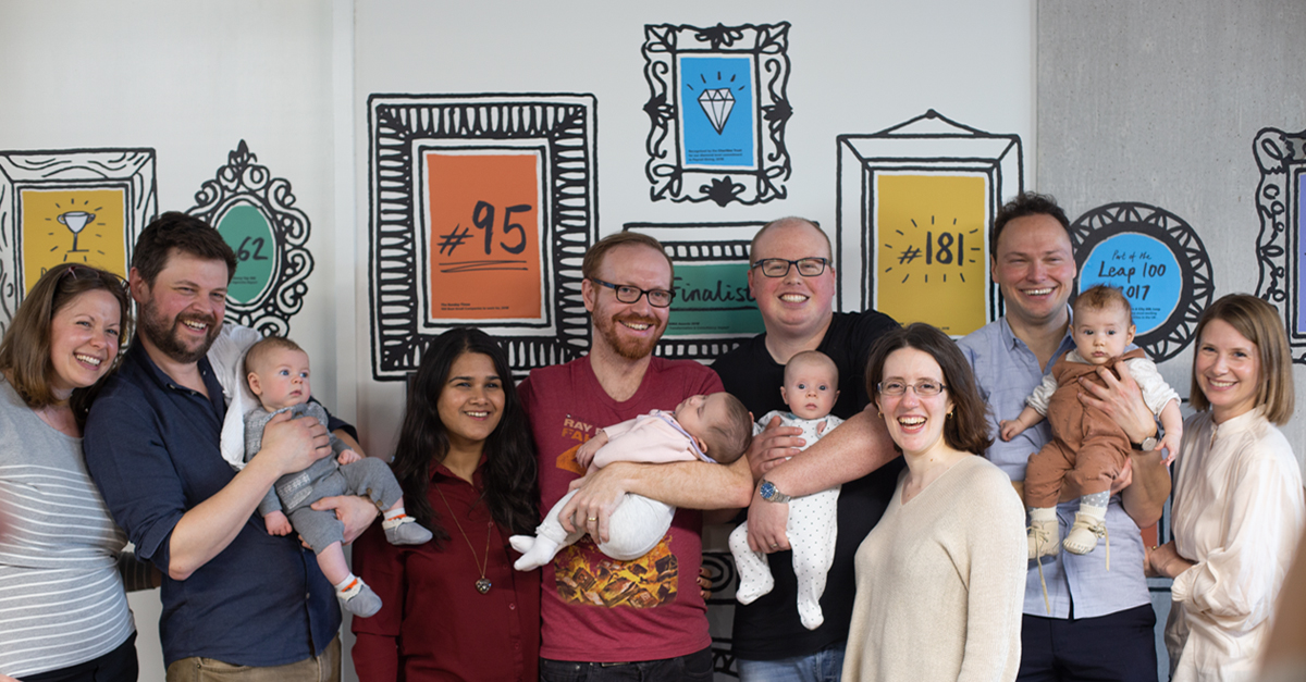 Red Badger employees with their partners and newly born children
