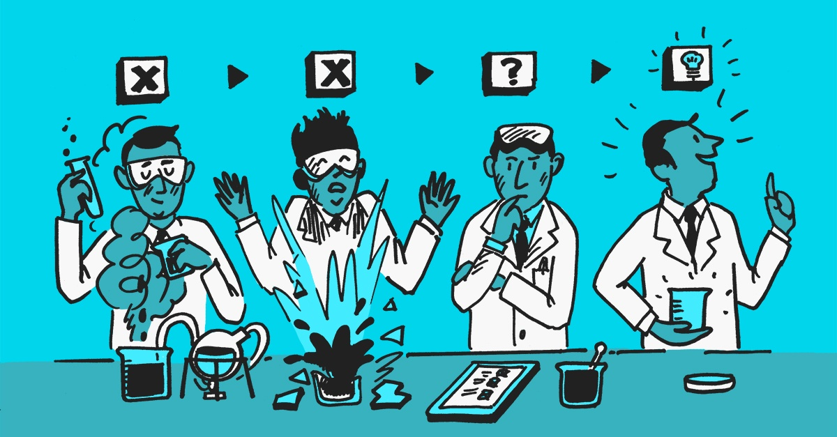 An illustration of a scientist in various stages of his experiment. Failing frequently then evaluating to come up with a new idea and his Eureka moment.