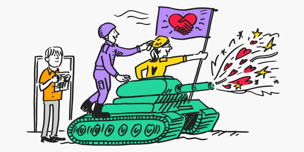 A cartoon of people inside a tank which has a flag of love that shoots hearts and flowers.