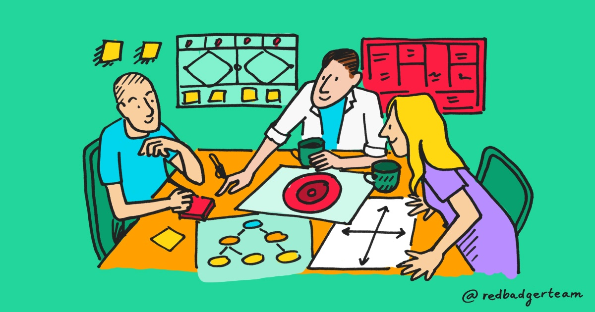 A colourful illustration of three smiling people sat at a table with post it notes, mugs and scattered sheets of diagrams