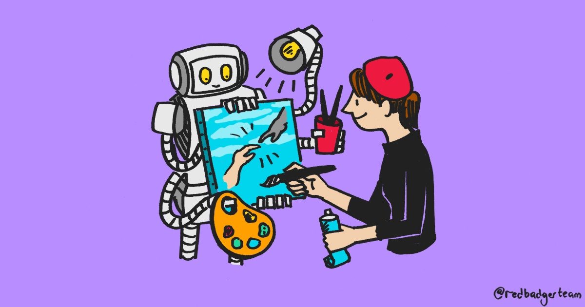 An illustration of a robot holding a canvas, light and palette for a human artist who has painted a human hand and robot hand touching.