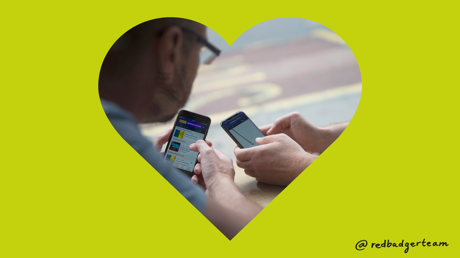 A heart shaped photo of two peoples phones on a lime green background