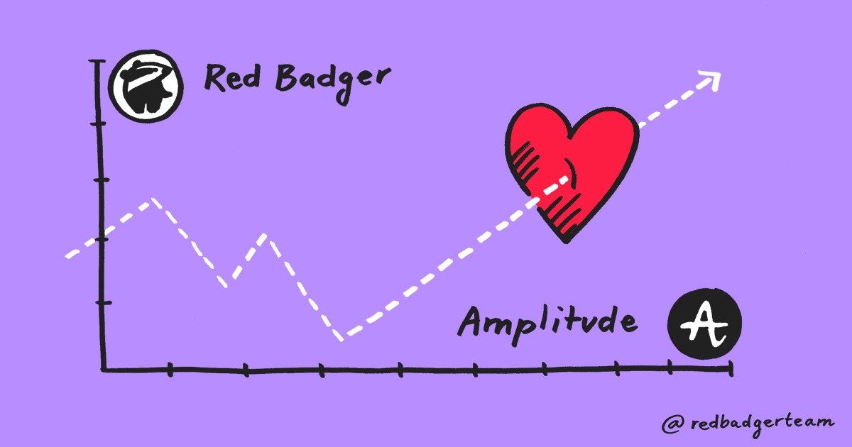 An illustration of a graph labelled red badger with the plot marks leading towards a big red heart.