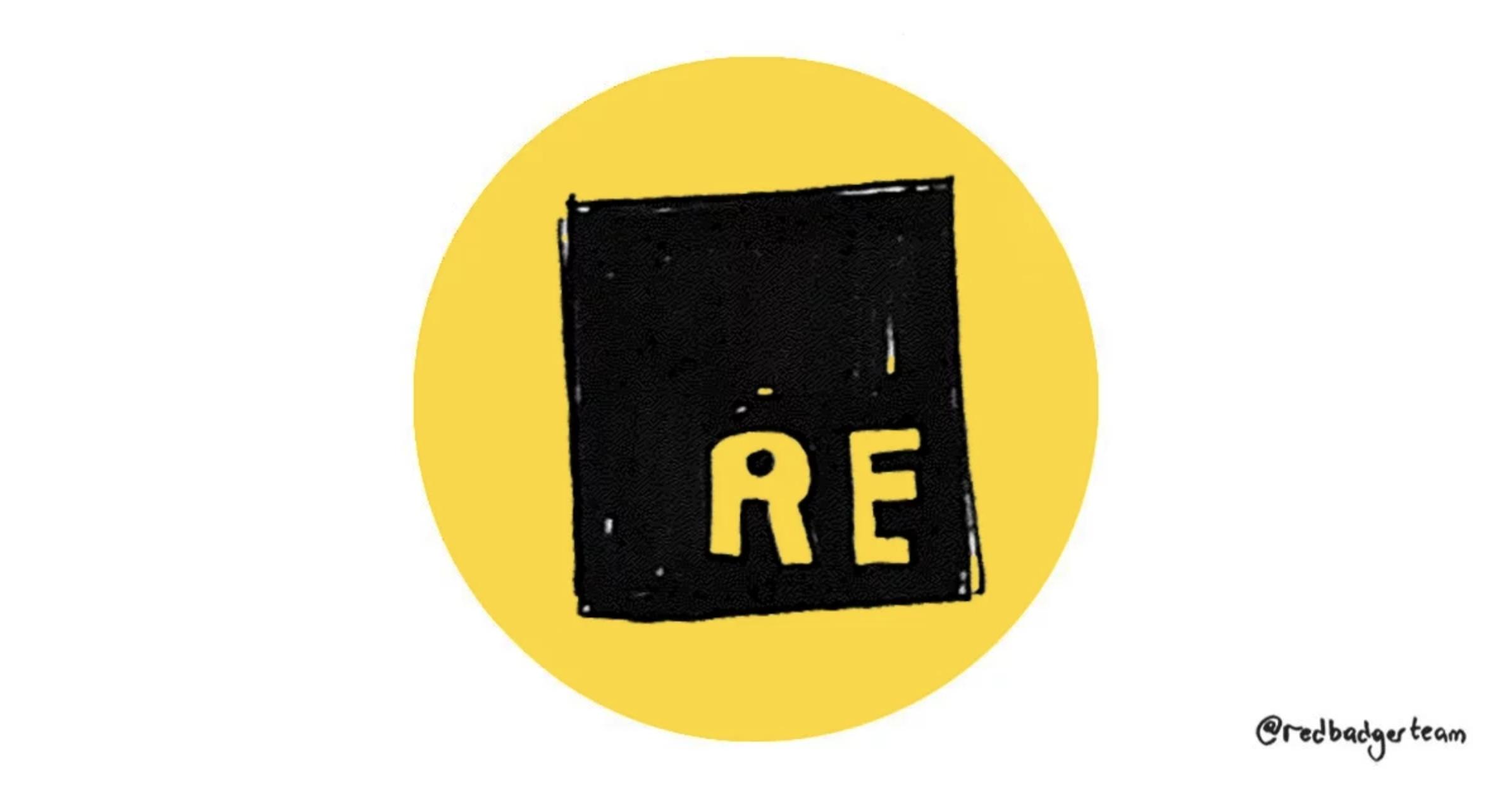 A dark ReasonML logo inside a bright circle