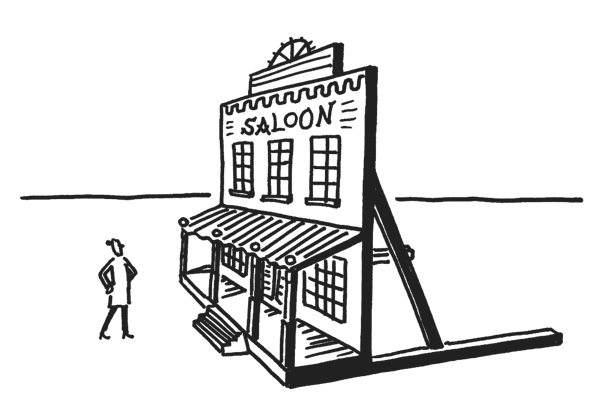 "Stick figure staring at a ""Saloon"" prop"
