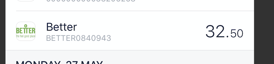 Picture showing transaction details in a feed item within the Monzo app