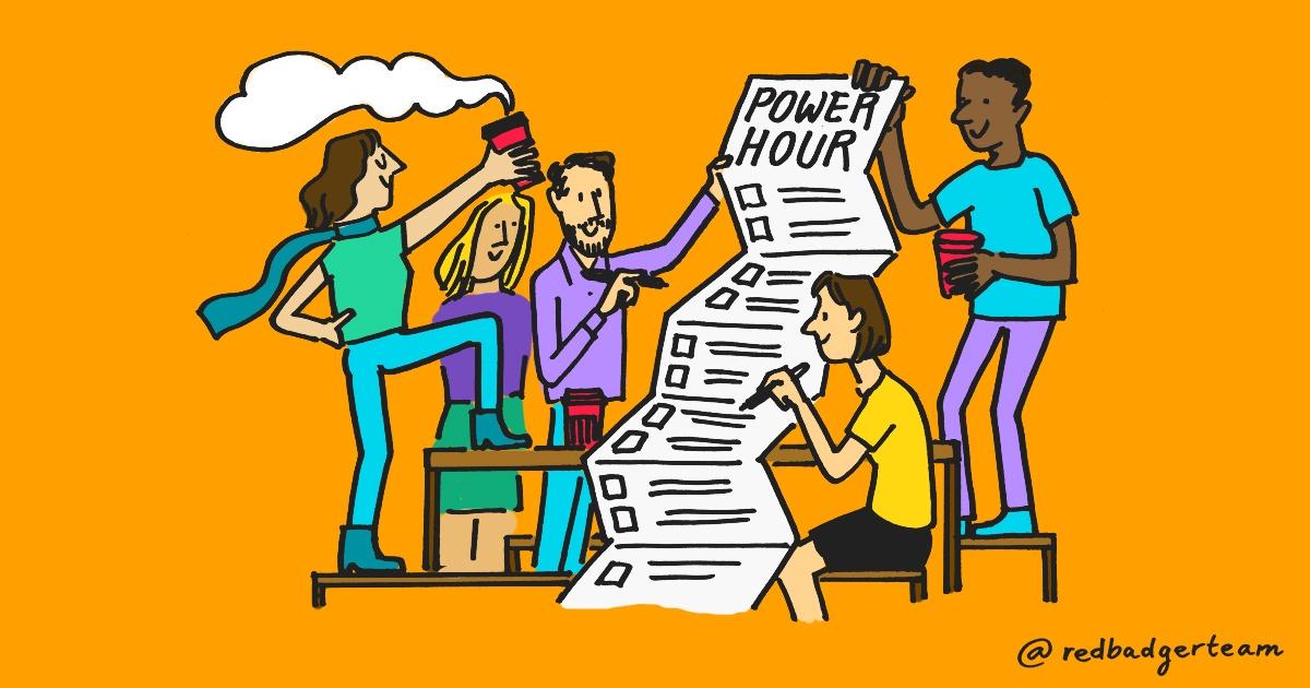 Marketing team attending power hour