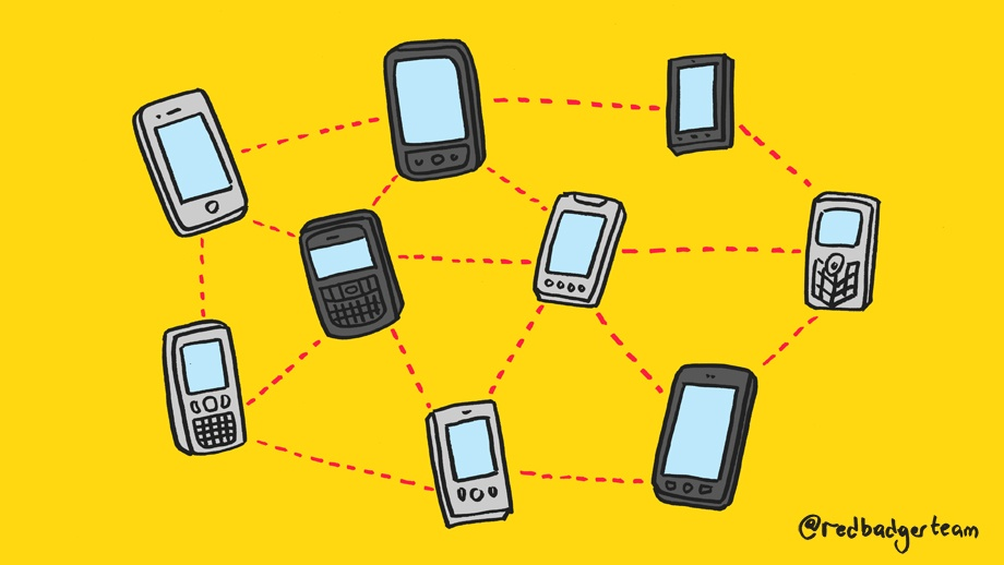 Illustrated phones connected by dashes in the shape of a diamond against a bright yellow background.