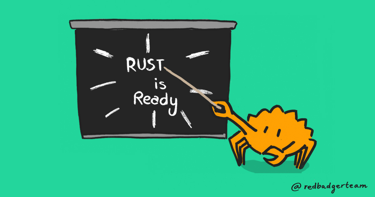 Animation of Ferris the Rust crab pointing at a sign which reads 'Rust is ready'
