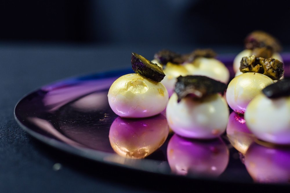 Some of Bompas & Parr's weird and wonderful canapés making their rounds.