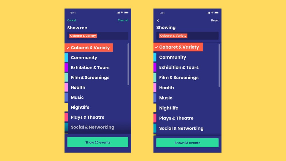 Earlier interface on the left and updated version on the right after usability testing