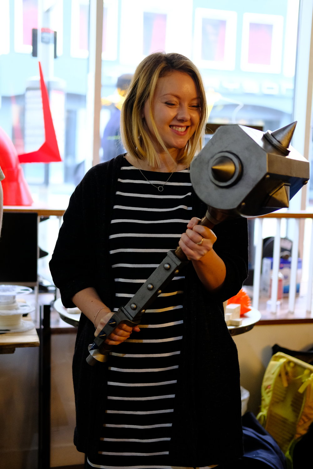 Claire with a really big hammer.