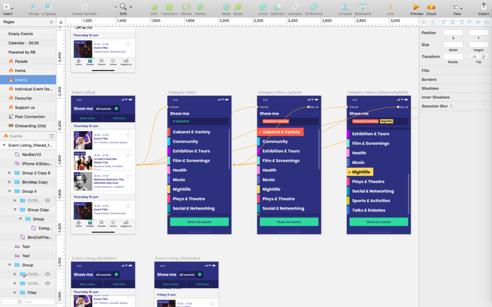 The UXD designers collaborated in Sketch to develop the user experience and design approach