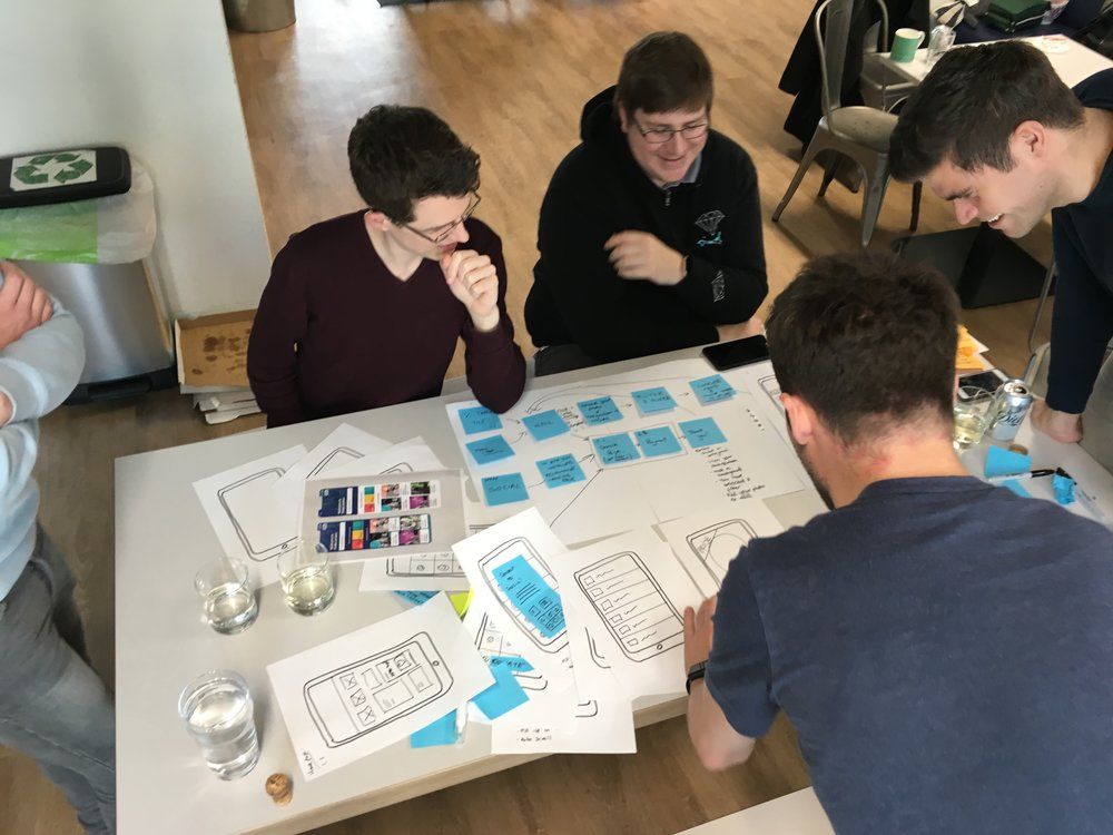 Some of the team sat around a table going over the paper example models
