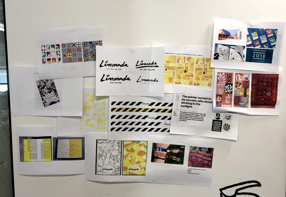 A picture of the many different sheets with idea's and concepts for the base of the branding