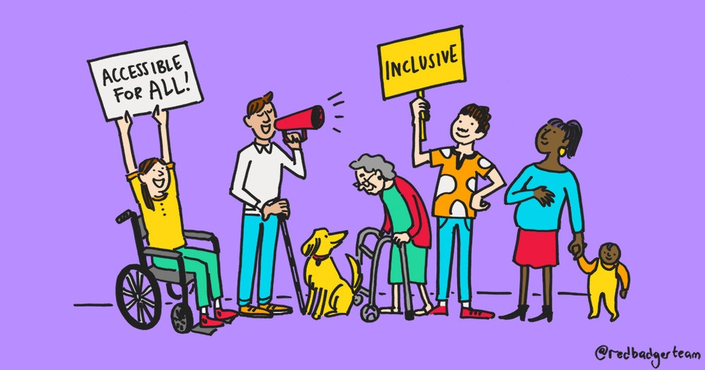 A bright 'Accessibility for all' drawing featuring people of a variety of age, ability, gender and race.
