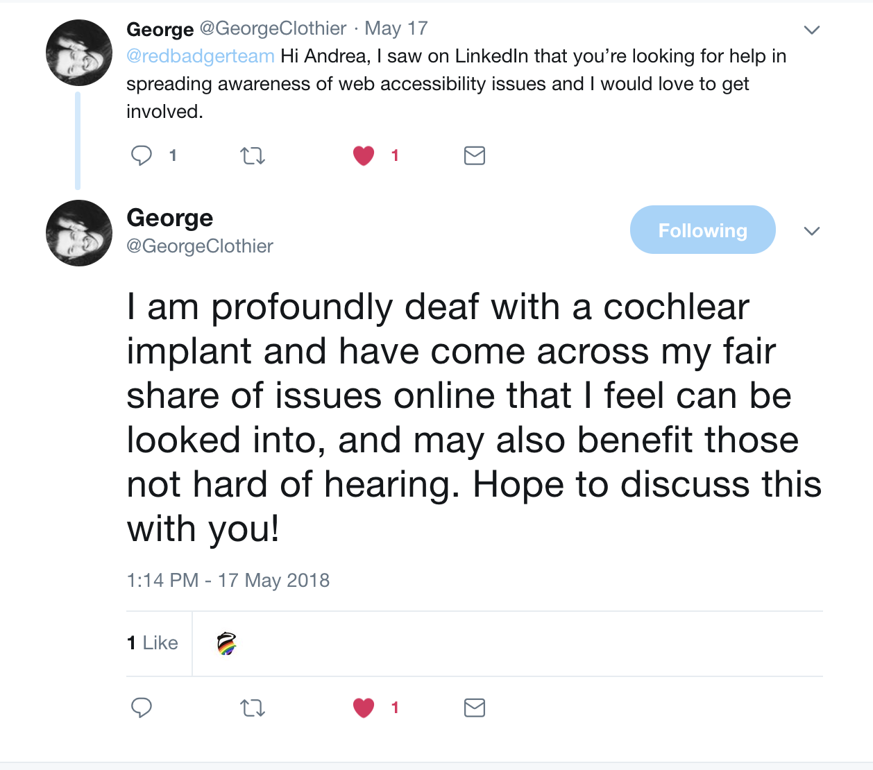 George got in touch on Twitter offering us his help and support.