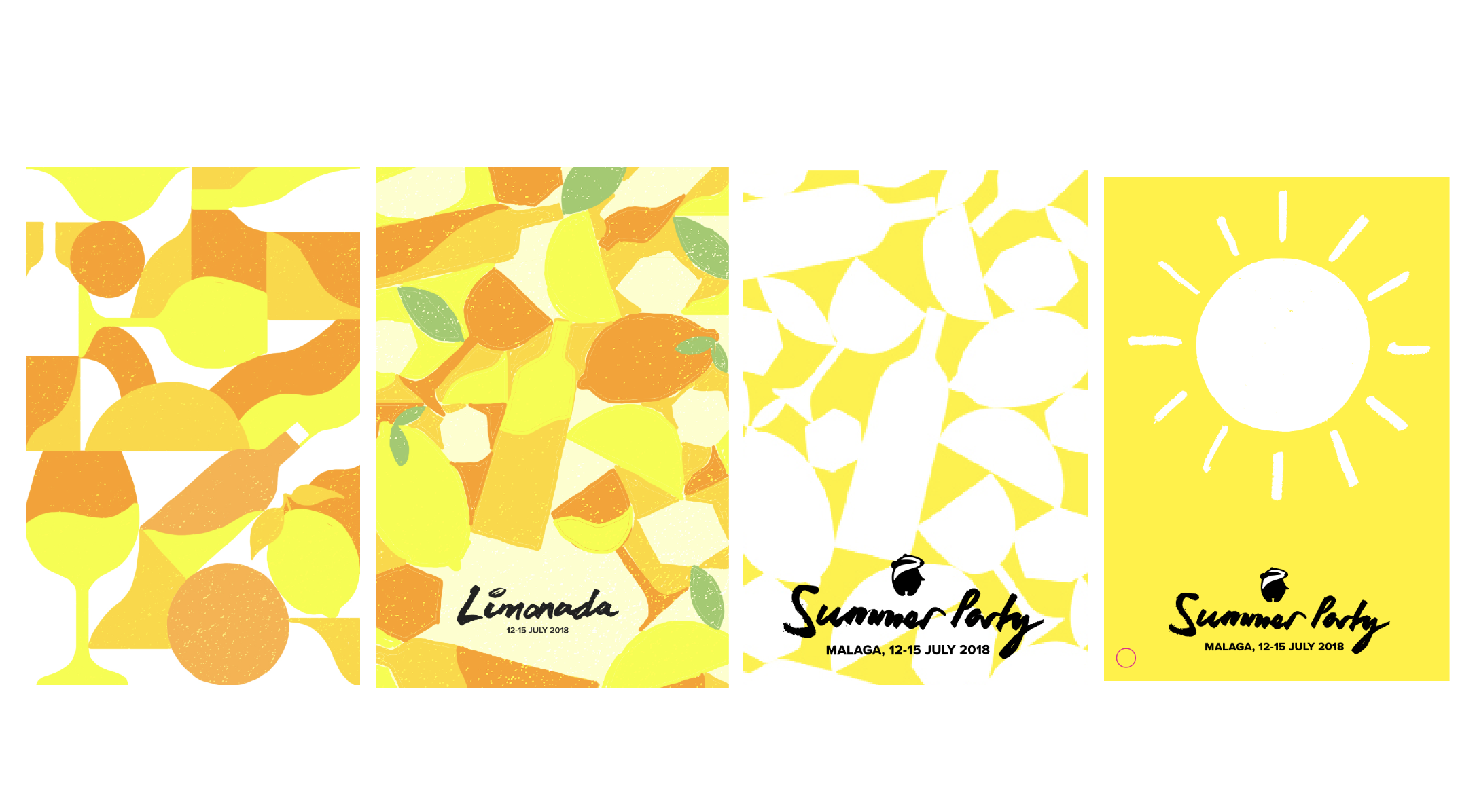 4 slightly different drafts of the initial theme post from lemons and oranges right through to a beaming sun