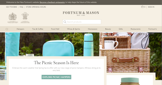 The new Fortnum & Mason, complete with Feedback banner