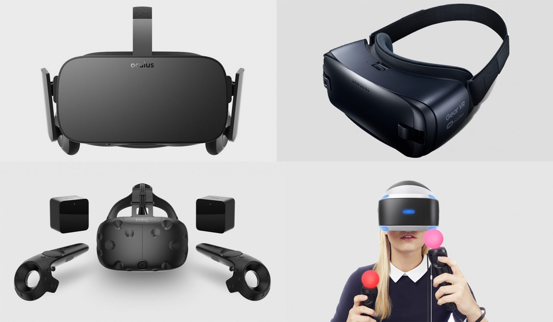 Oculus Rift, Gear VR, HTC Vive, PlayStation VR