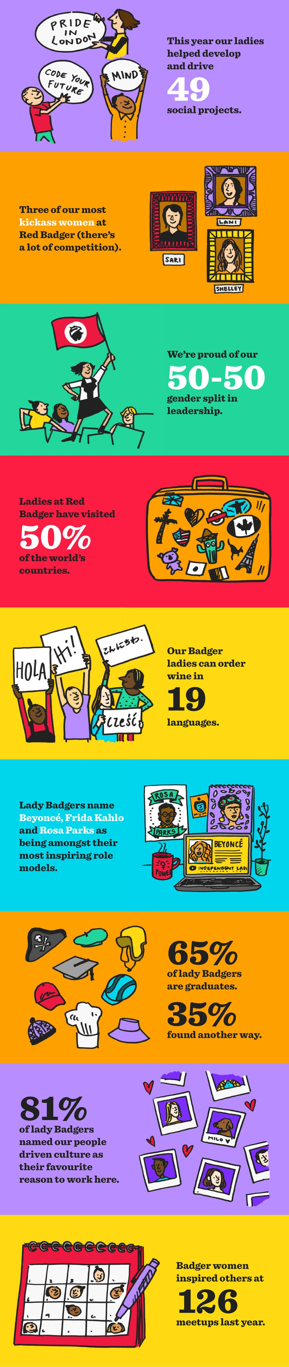 A row of illustrations with short but wonderful facts about the female badgers