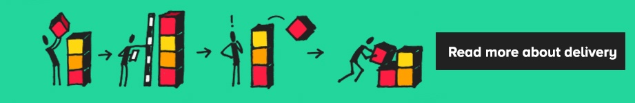 Illustrated stick men creating different structures with coloured blocks and a note to click to read for more about delivery