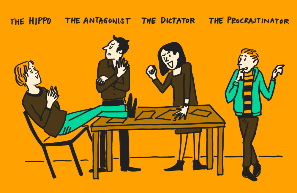 Cartoon of decision makers discussing