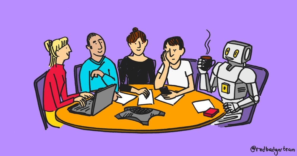 A colourful illustration of a group of people sat around a desk working and in the last seat is a friendly looking robot with a mug of coffee.
