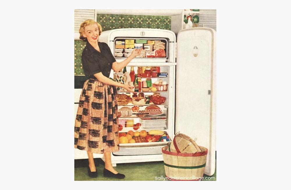 Vintage lady in front of fridge