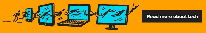 Illustration of stick men jumping through various technical devices with the link to carry on reading about Tech.