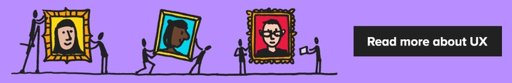 Illustrated banner of stick people putting up colourful portraits of people with the link to read more blogs about UX