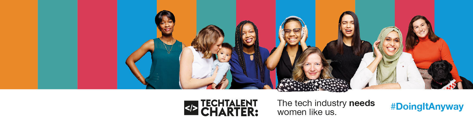 Eight women smiling featuring the Tech Talent Charter logo