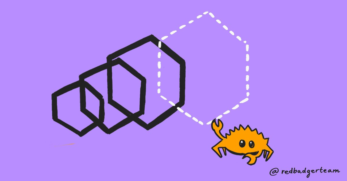 Graphic of the crab from the rust logo pulling forward the WebAssembly hexagon.