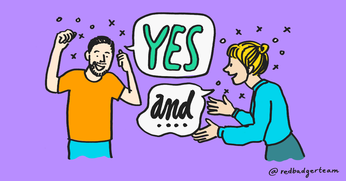 Illustration of two people taking part in improv
