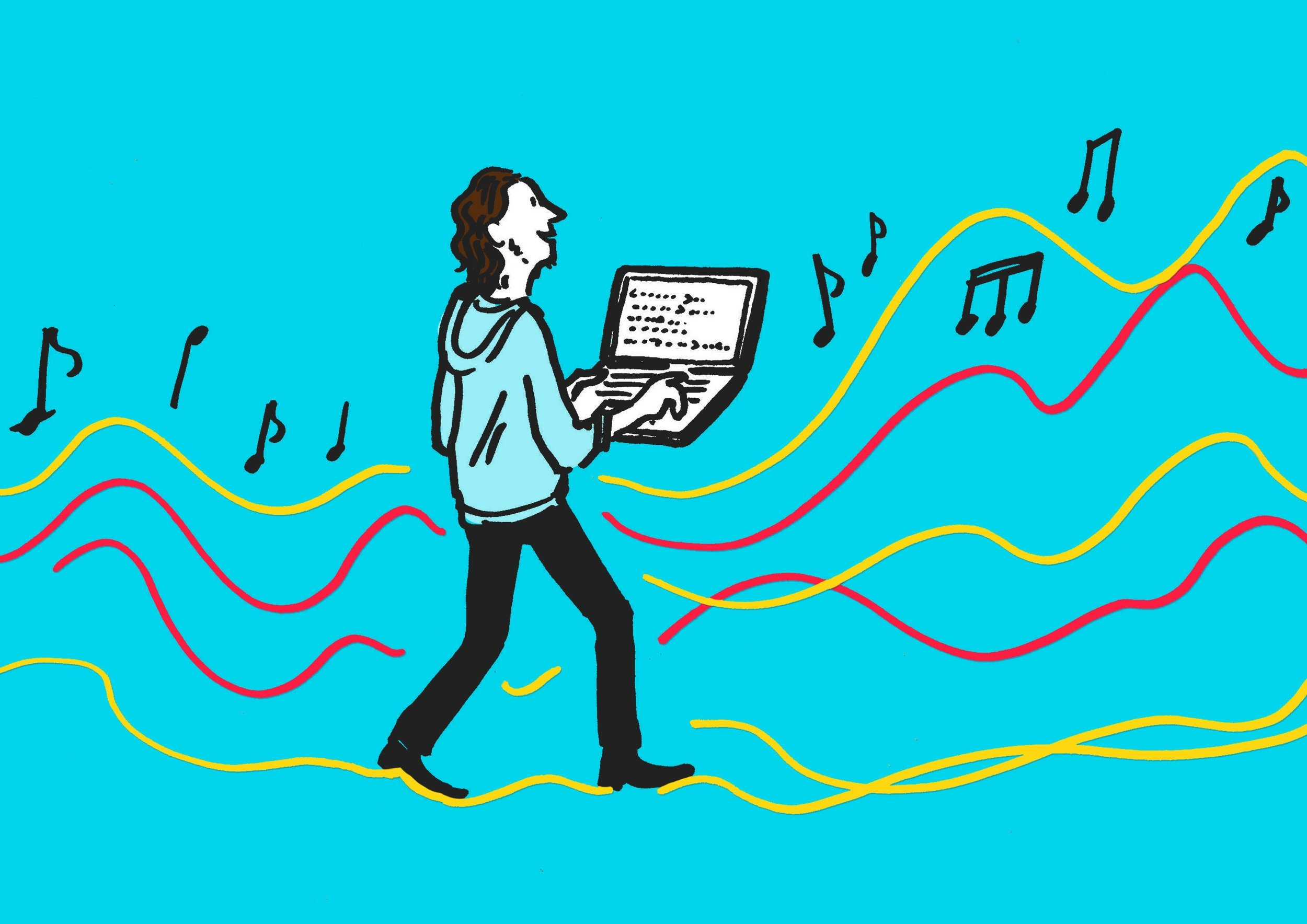 A colourful illustration of a man walking on soundwaves as his laptop plays musical notes