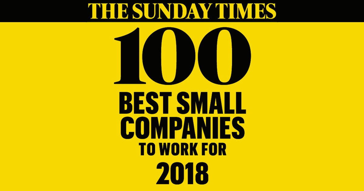 we re in the sunday times 100 best companies to work for 2018